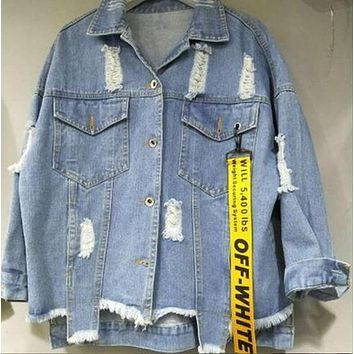 new kanye Men jacket Autumn Winter Men Women Denim Jacket Oversized Vintage Loose Ripped off white Jeans Coat Casual Outwear