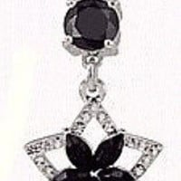 Star with Flower Belly Ring Navel Ring Black, Surgical Steel, 14g (1.6 mm)