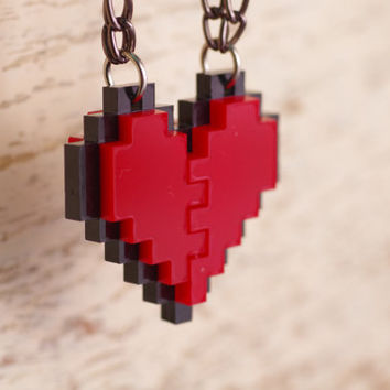 Pixel Heart Acrylic Necklace and Pandent for couple and gamer 8 bits design for couple and Zelda gamer