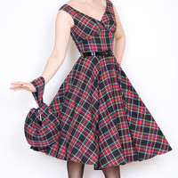 Saturday Night Pin Up Dress in Black Tartan Plaid