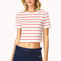 FOREVER 21 Striped Lace Crop Top