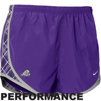 Nike TCU Horned Frogs Ladies Purple Plaid Tempo Performance Shorts