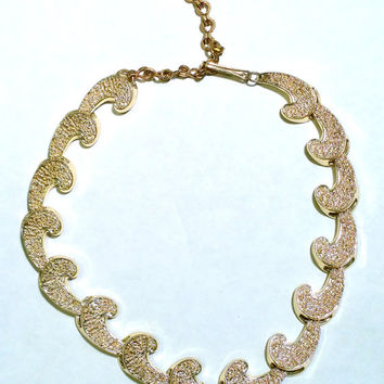 Mid Century Necklace Gold Tone Scroll Vintage Necklace Mad Men Jewelry Gift Idea