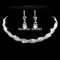 Fashion Wedding Jewelry Sparkling Rhinestone Crystal Choker Necklace Earrings Set Charm Silver Plated Bridal Jewelry Set