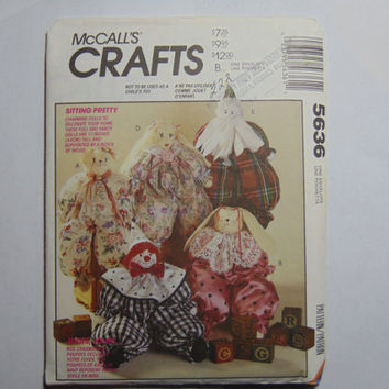 McCall's Craft Sewing Pattern 5636 Sitting Pretty these charming dolls to decorate your home