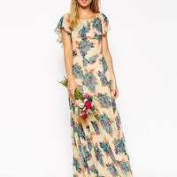 ASOS WEDDING Maxi Dress With Frill Detail In Pretty Floral Print