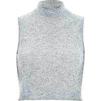 River Island Womens Grey fluffy sleeveless turtle neck crop top