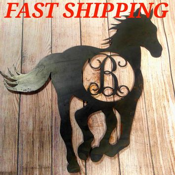 Horse Decor, Horse Door Hanger, Unfinished Letter, Rustic Letter, Personalized Door Hanger, Gift Idea, Wall Decor, Barn Decor, Cowgirl Gift