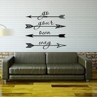 Wall Decal Quote Go Your Own Way Vinyl Lettering Arrow Feather Hipster Vinyl Stickers Boys Room Decals Kids Nursery Bedroom Home Decor 0101