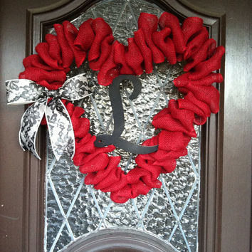 Valentine Wreath, Large Valentine Decor, Personalized Valentine Wreath, Burlap Valentine Wreath, Winter Wreath,Spring Wreath, Heart Wreath