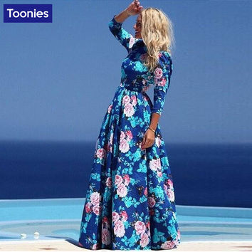 Bohemian Dress Ukraine Flower Printed Maxi Elegant A-Line Long Dress O-Neck Sexy Floor Length Dress For Women vestidos de festa