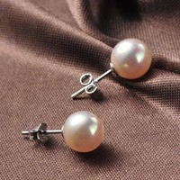 Shell natural pearl sterling silver studs F