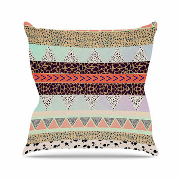 "Vasare Nar ""Animal Print Tribal"" Multicolor Pastel Throw Pillow"