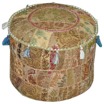 Bohemian Embroidered Pouf Ottoman in Beige Footstool Cover indian round ottoman stool pouf pillow Patterned Cocktail Vintage Hassock Pouffe