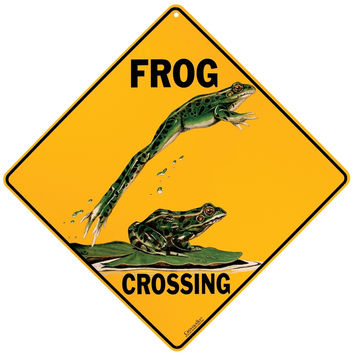 Frog Crossing Aluminum Sign