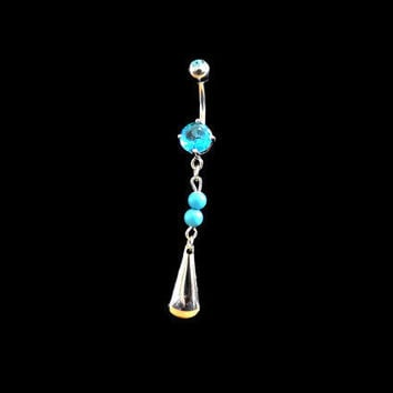 Tribal Silver Belly Ring and Blue Stone Body Jewelry