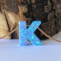Opal necklace, opal letter necklace, opal gold necklace, opal jewelry, tiny dot necklace, opal bead necklace, dot necklace, blue opal