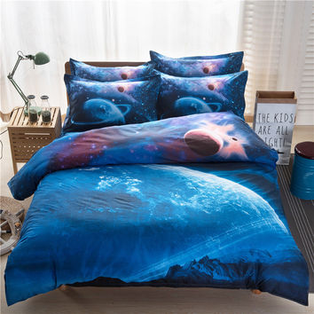 3d Galaxy Duvet Cover Set Single double Twin/Full/Queen 2pcs/3pcs/4pcs bedding set sky Outer Space Themed Bed Linen Bed Sheet