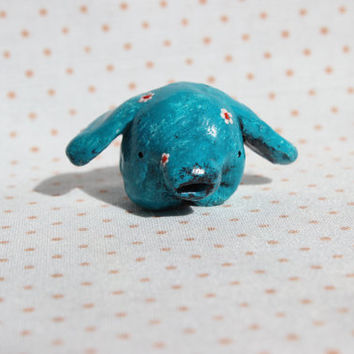 OOAK elephant figurine small animal rustic totem primitive mint green turquoise white red