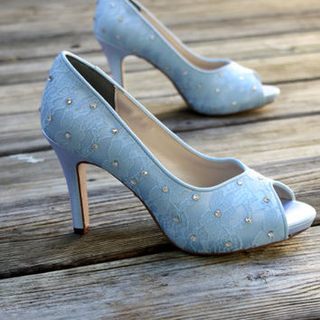 Blue Lace Wedding Shoes -- 3.5 inch lace peep toes- Kairi