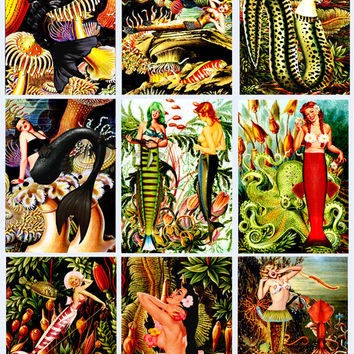 mermaid pin up girls Digital Collage Sheet Printable Instant Download 2.5x3.5 inch pinup images Jewelry holders Gift Tags scrapbooking