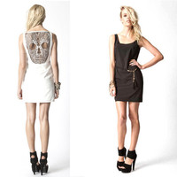 Skull With Lace Soft Vest Dress