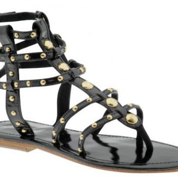 Mystique Black And Gold Studded Gladiator Thong Sandal (Small/Indie Brands)