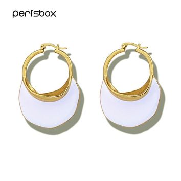 Peri'sBox Trendy White Blue Enamel Metal Hoop Earrings for Women Painted Big Large Earrings Hoops Chic Statement Earrings Gifts