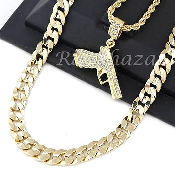 "MEN HAND GUN PENDANT DIAMOND CUT 30"" CUBAN ROPE CHAIN NECKLACE G46"