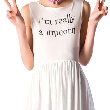 Wildfox Couture I'm Really A Unicorn 90s Baby Doll Dress