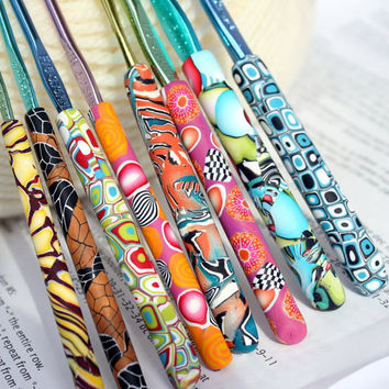 Polymer clay covered crochet hook set of 8 Boye hooks, Sizes D/3 through K/10.5, eight OOAK designs