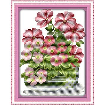 Potted Pink flower Chinese Cross Stitch Kits Counted Cross Stitch Patterns Kit Cross-stitch DMC Paintings Wall Decor