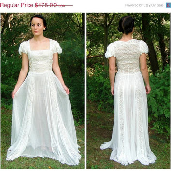 20% OFF SALE Antique 1930's Art Nouveau Sheer Off White Lace Wedding Dress. Bohemian Bridal. Ivory. XS 0