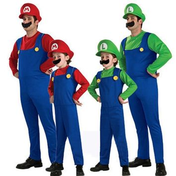 BAZZERY Halloween Costumes Funny Super Mario Luigi Brother Costume Kids Children / Adult Fantasia Cosplay Jumpsuit Hat Set