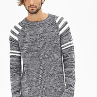 Striped Raglan Sweater Heather Grey/White