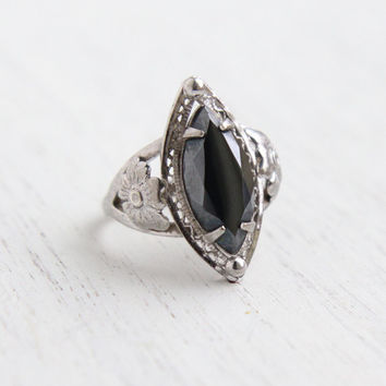 Vintage Sterling Silver Hematite Ring - Size 6 1/4 Statement Flower Shoulders Signed Cameo Jewelry / Faceted Marquise Gray Stone