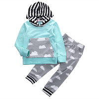 Cotton Newborn Baby Boys Girls Pocket Sweatshirt Top+Long Pants Outfit Clothes Set Children Autumn Winter Stuff