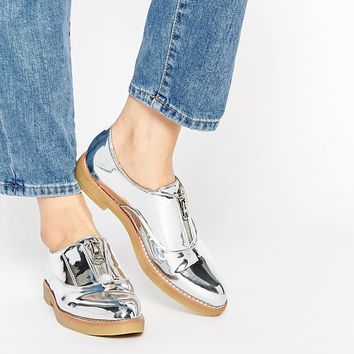 Glamorous Silver Zip Front Flat Shoes