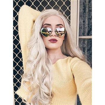 Long Christina Style Blonde Light Gold Wavy Synthetic Lace Front Wig