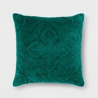 Green Velvet Medallion Square Throw Pillow - Opalhouse™