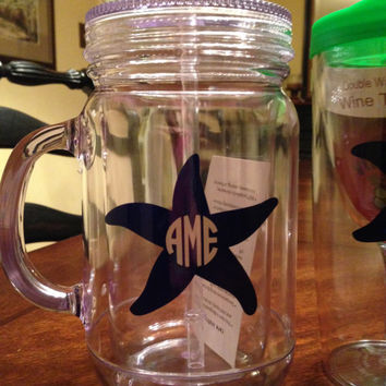 Monogrammed Mason Jar Acrylic Tumblers double wall insulated