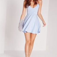 Missguided - Strappy Skater Dress Blue