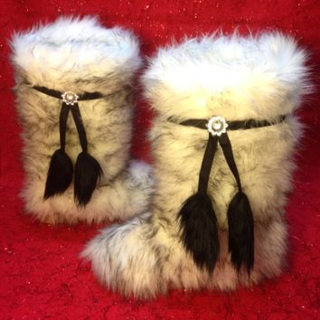 Black Tip Polar Bear Faux Fur Boots With Tassels