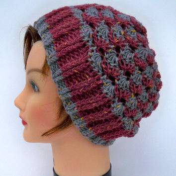 Women's Crochet Hat - 2 Color Shell Stitch Wool Blend Tweed Beanie In Deep Rose And Pewter - Fall / Winter Fashion - Handmade Headwear