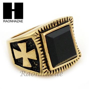 MEN STAINLESS STEEL HIP HOP CROSS 14K GOLD TONE BLACK ONYX RING 8-12 SR032CL