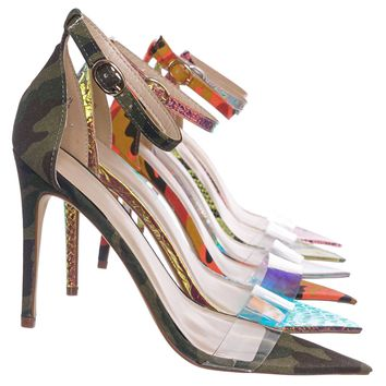 Exception28 Lucite Clear High Heel Sandal - Pointed Open Toe Ankle Strap Shoe