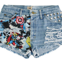 The Marvel Shorts studded highwaisted distressed by Shopwunderlust
