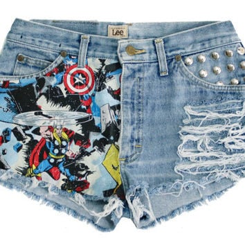 The Marvel Shorts (studded, high-waisted, distressed)