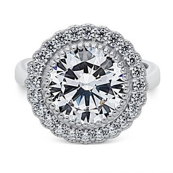 A Vintage Style 4.9CT Round Cut Halo Russian Lab Diamond Engagement Ring