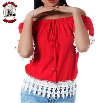 New fashion lace top women short sleeve top women Red